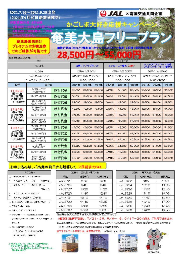 かごしま大好き応援キャンペーン 奄美大島フリープラン
